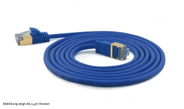 WantecWire slim, round SSTP Patchcord, 0,16INCH (4mm), CAT7 Cable, CAT6e Connectors, gold plated Contacts and Cover, Color: blue, Length: 19,69INCH (50cm)