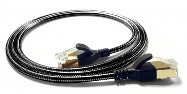 WantecWire armored slim, round FTP CAT6 Patchcord, 0,15INCH (3,8mm), Color: anthracite, Length: 19,69INCH (50cm)