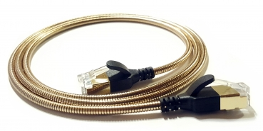 WantecWire armored slim, round FTP CAT6 Patchcord, 0,15INCH (3,8mm), Color: gold, Length: 19,69INCH (50cm)