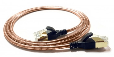 WantecWire armored slim, round FTP CAT6 Patchcord, 0,15INCH (3,8mm), Color: coppery, Length: 11,81INCH (30cm)