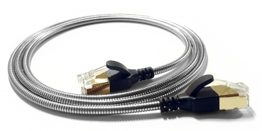 WantecWire armored slim, round FTP CAT6 Patchcord, 0,15INCH (3,8mm), Color: silver, Length: 19,69INCH (50cm)